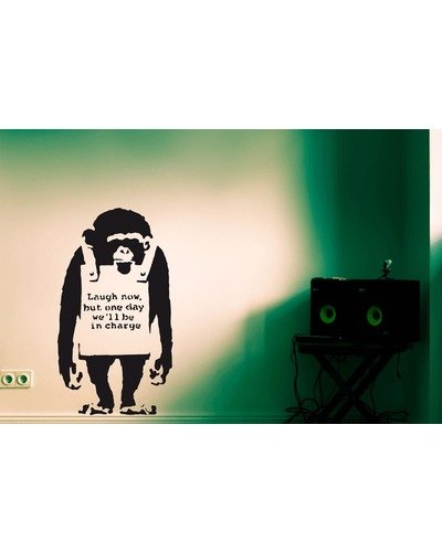 Wandsticker BANKSY MONKEY laugh now M Streetart Wandtattoo |  | Artikelnummer: 57155267 4