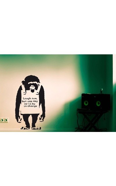 Wandsticker BANKSY MONKEY laugh now M Streetart Wandtattoo |  | Artikelnummer: 57155267 3