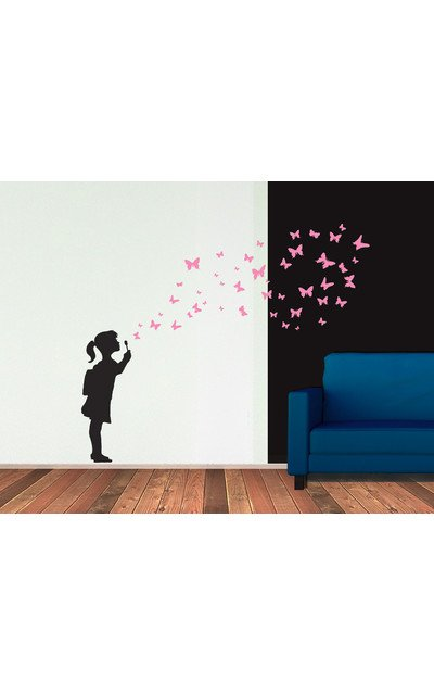 Wandsticker Seifenblasen Madchen Mit Schmetterlingen Wandtattoo Butterfly Girl Urban Art Berlin