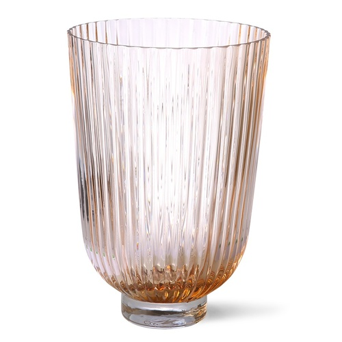 HK Living Vase ribbed peach