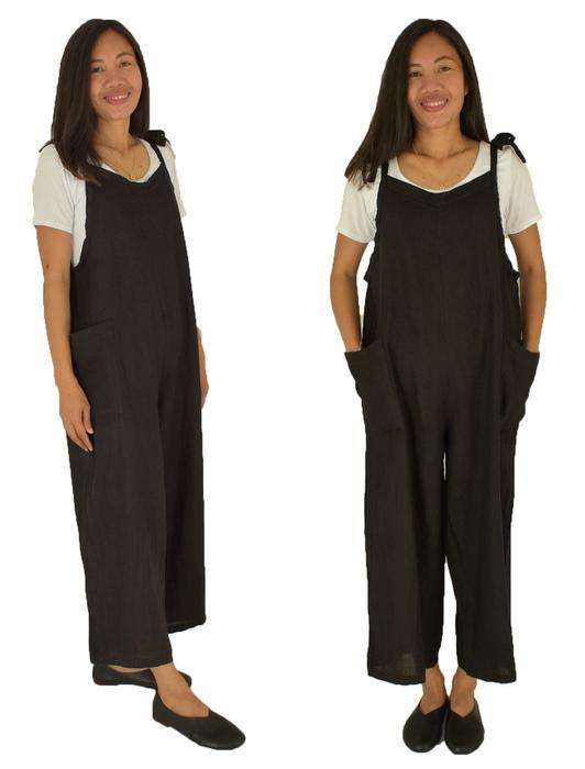 best website fc101 9d6a5 LE600SW Jumpsuit schwarz Leinen Overall Baggy