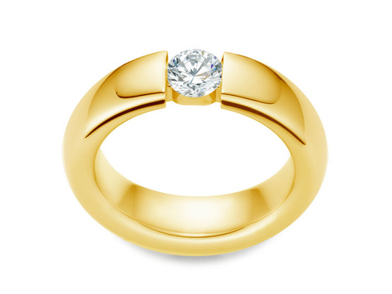 Diamantring Form 0.30 Karat in Top Qualität | 750er Gelbgold - Brillant in E - Lupenrein | Artikelnummer: FORGG030E