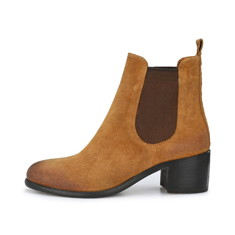 CRICKIT-Chelsea Boot Stiefelette-MILEY Suede Cognac