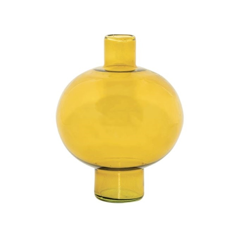 Urban Nature Culture Vase recyceltes Glas rund  - amber green