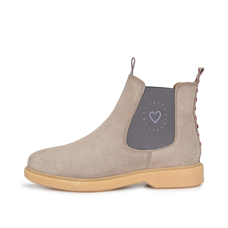 CRICKIT-Chelsea Boot Stiefelette-ELISA Suede Taupe mit Heartbeat