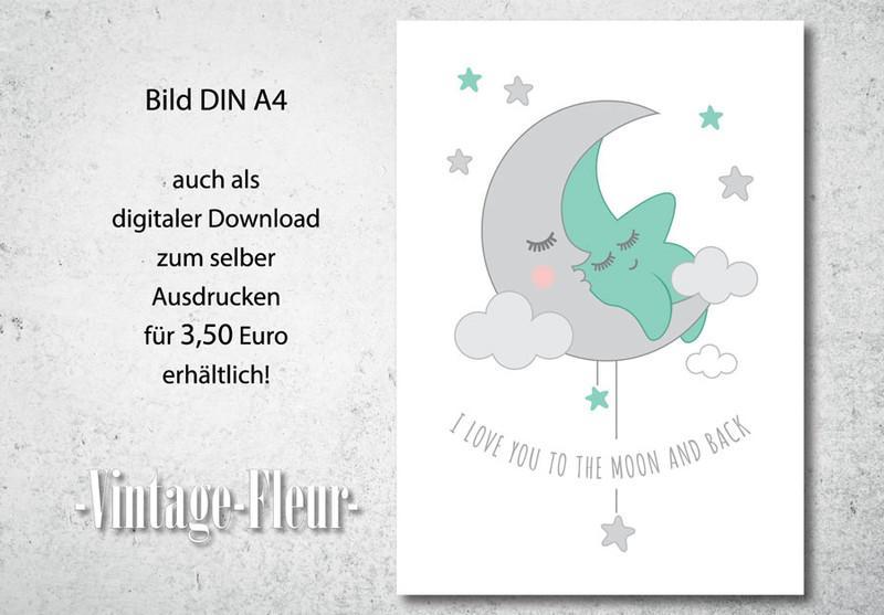Kinderzimmer Wandbild Poster A4/A3, Mond und Stern
