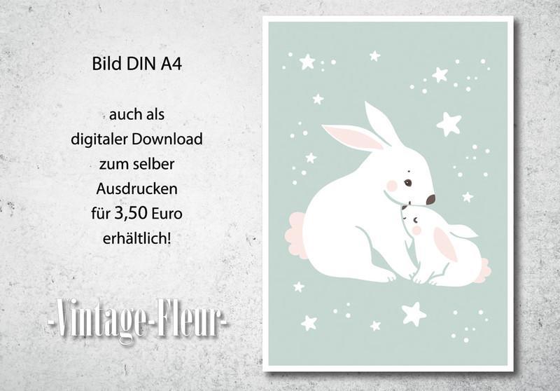 Kinderzimmer Wandbild, Poster A4/A3, Hase