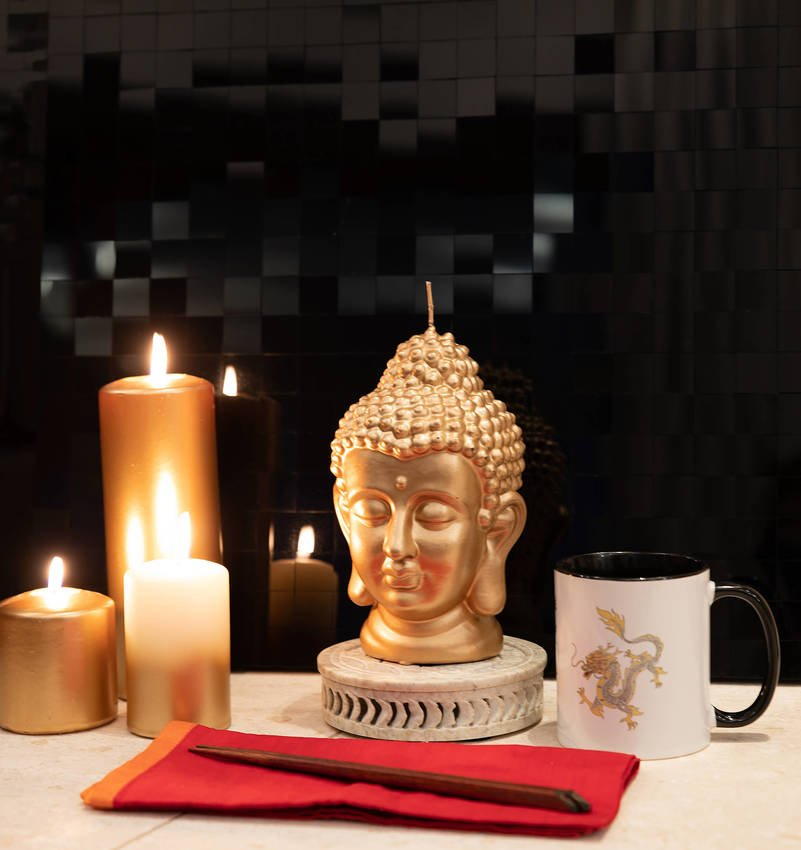 Deko Kerze Buddha Wiedemann Black Edition gold