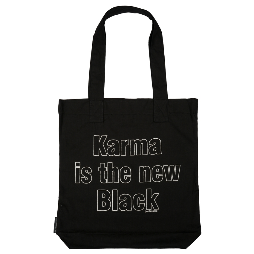 goldmarie Stoffbeutel KARMA IS THE NEW BLACK schwarz-silber - 37x14cm