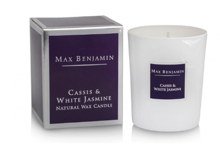 Duftkerze scented candle cassis white jasmine max benjamin