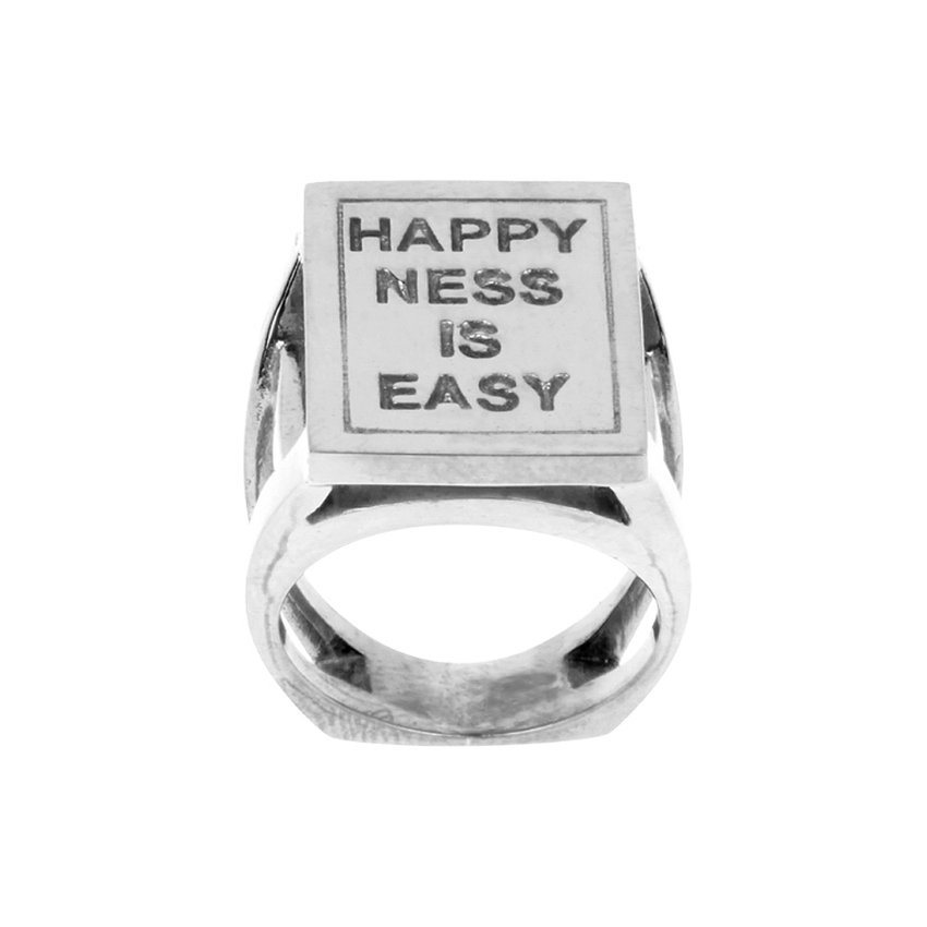 goldmarie Ring Siegelring HAPPINESS IS EASY 925er Silber Gr.53