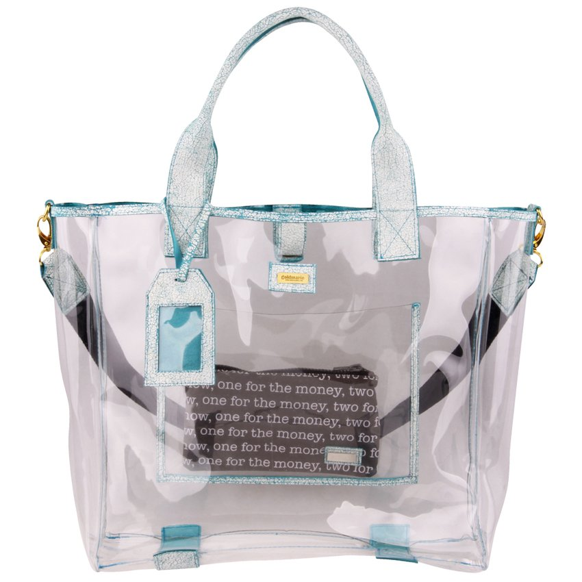 goldmarie Shopper Tasche YOGA BABE transparent-weiß-türkis