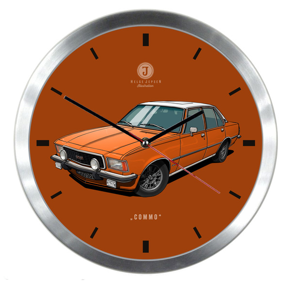 "Helge Jepsen Wanduhr mit Illustration Opel Commodore - Spitzname ""COMMO"""