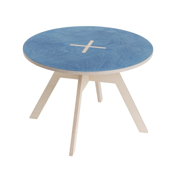 Kindertisch Holz Design blau