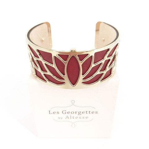 Les Georgettes Armreif 'Lotus' gold, 25mm - Bordeaux