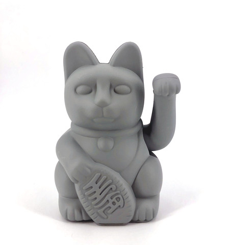Donkey Products Winkekatze LUCKY CAT hellgrau grau