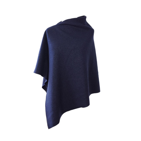 Eleganter Woll-Poncho in Marineblau von marengu