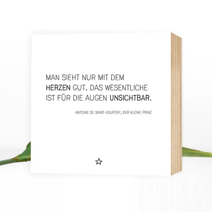 Der Kleine Prinz Zitat Wunderbares Holzbild 15x15x2cm