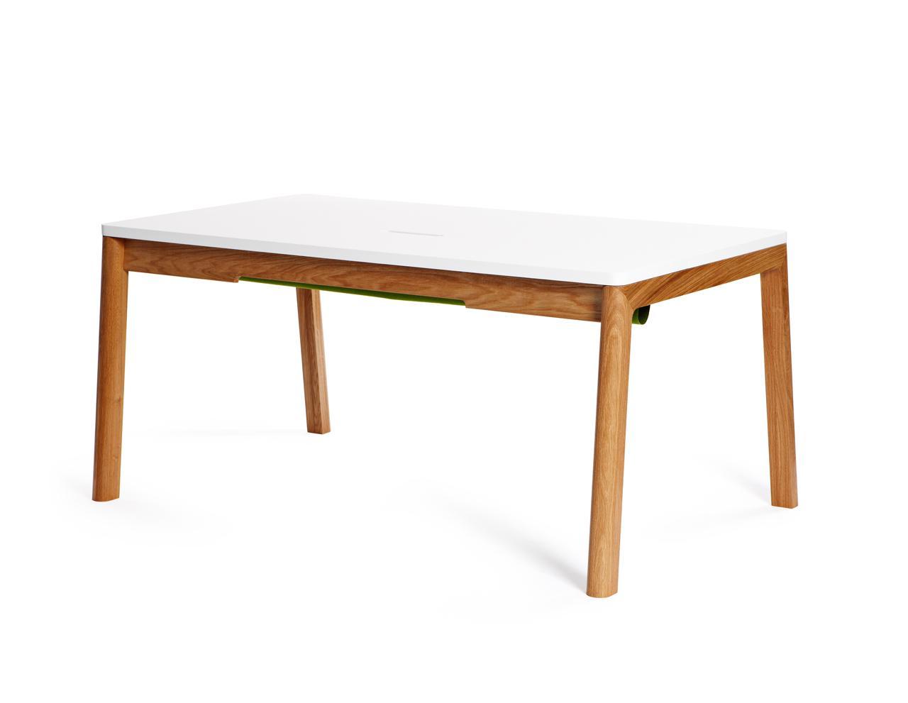 schreibtisch in wei und holz 140 cm. Black Bedroom Furniture Sets. Home Design Ideas