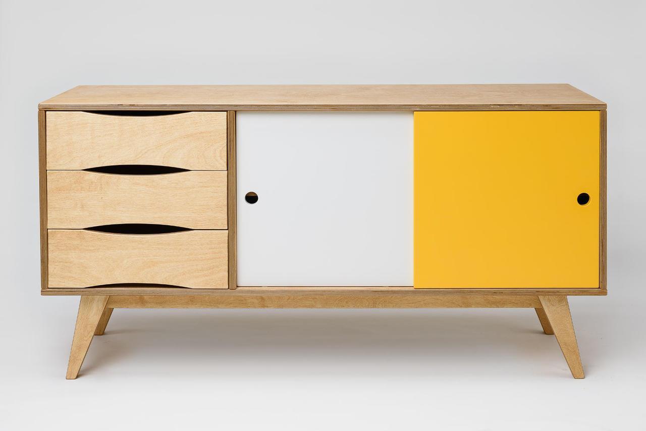 Skandinavisches Sideboard sideboard aus holz mit schiebetüren - skandinavisches design