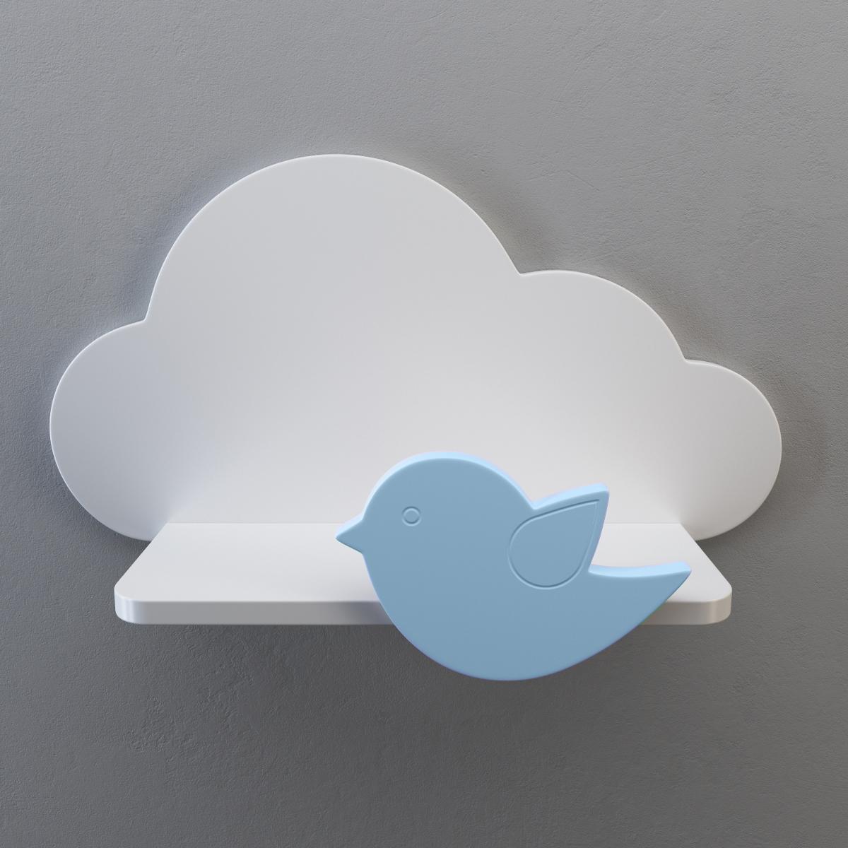 Wandregal kinderzimmer aus holz wolke vogel - Wandregal wolke ...