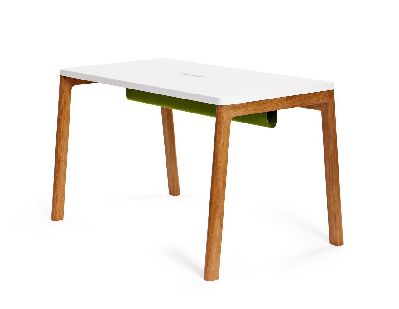 Schreibtisch in wei und holz cow for Schreibtisch holz design